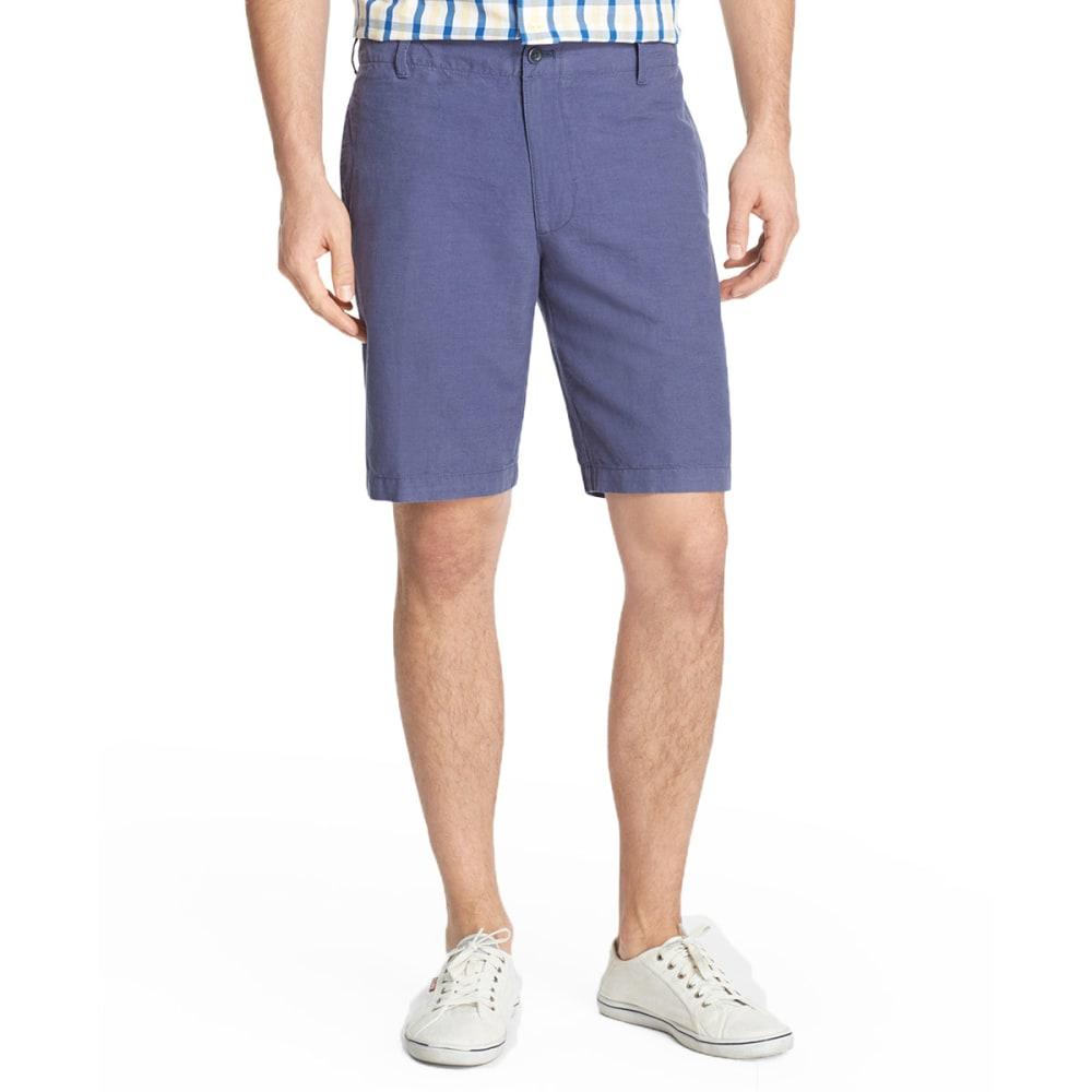 IZOD Men's Flat Front Linen Solid Shorts - INDIGO BLUE