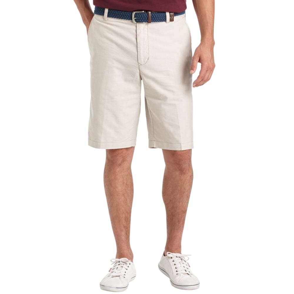 IZOD Men's Oxford Solid Flat Front Shorts - 261-CEDARWOOD KHA