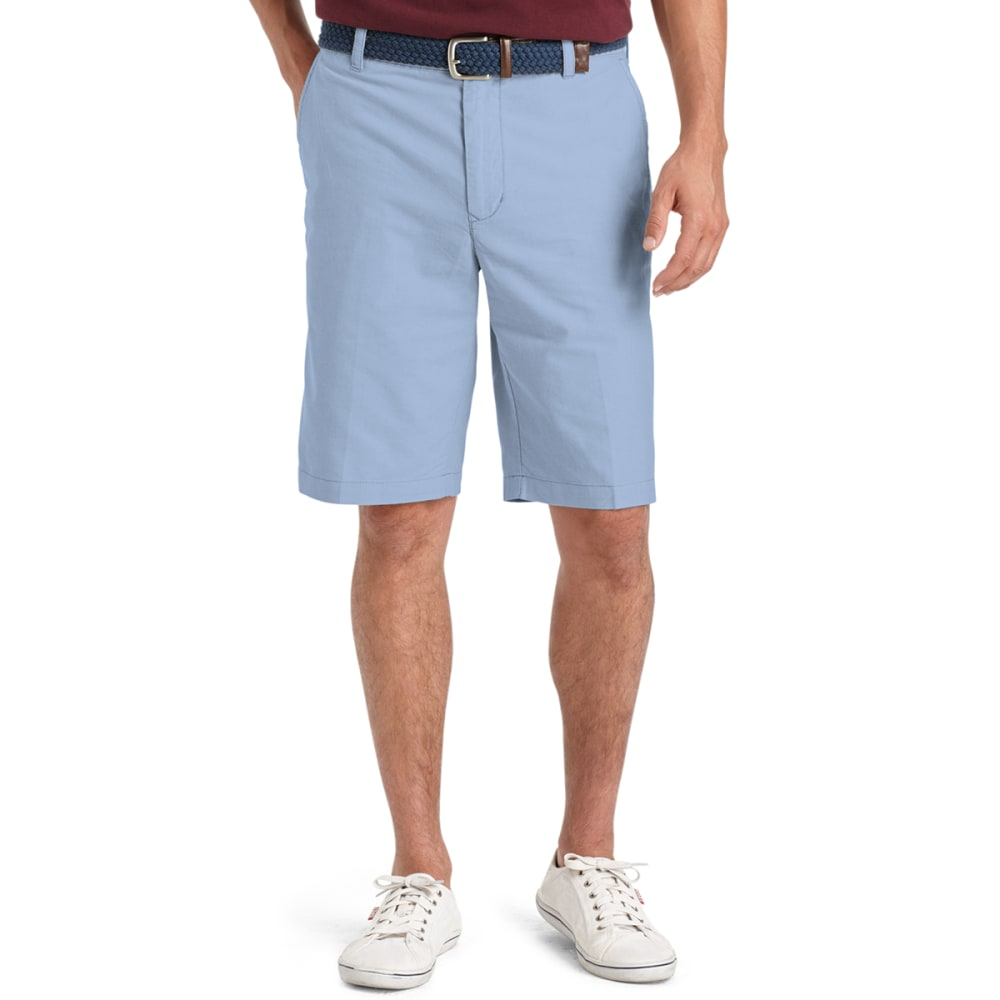 IZOD Men's Oxford Solid Flat Front Shorts - 464-BLU REVIVAL