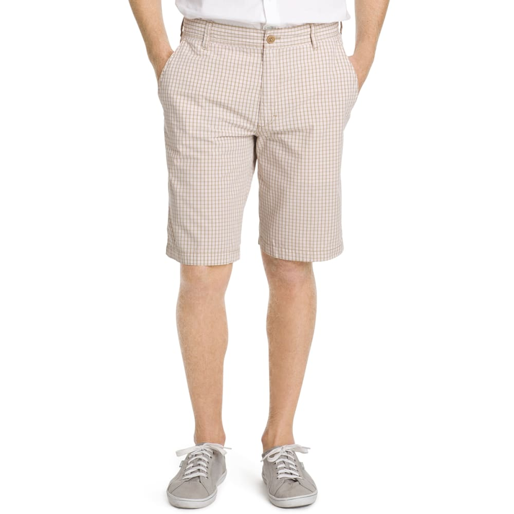 IZOD Men's Poplin Plaid Flat Front Shorts - 261-CEDARWOOD KHA
