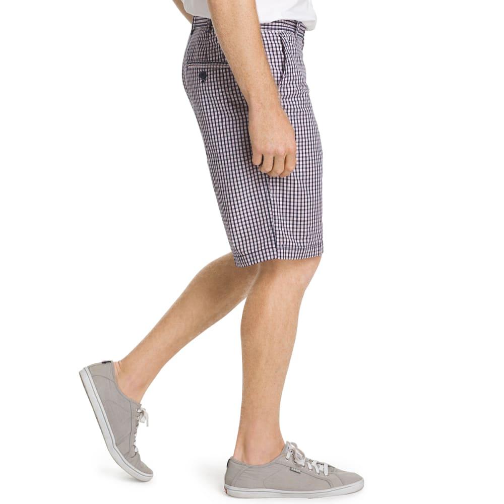 IZOD Men's Poplin Plaid Flat Front Shorts - 408-MIDNIGHT