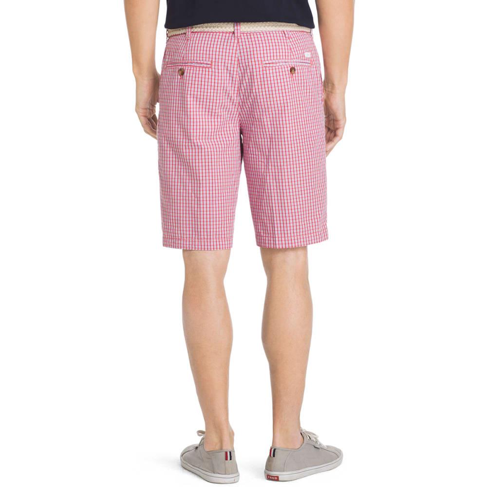 IZOD Men's Poplin Plaid Flat Front Shorts - 648-SALTWATER RED