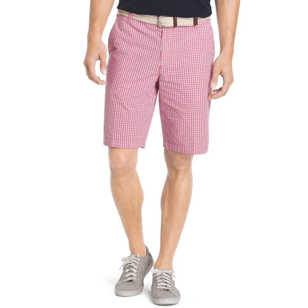 IZOD Men's Poplin Plaid Flat Front Shorts - 648-SALTWATER RED