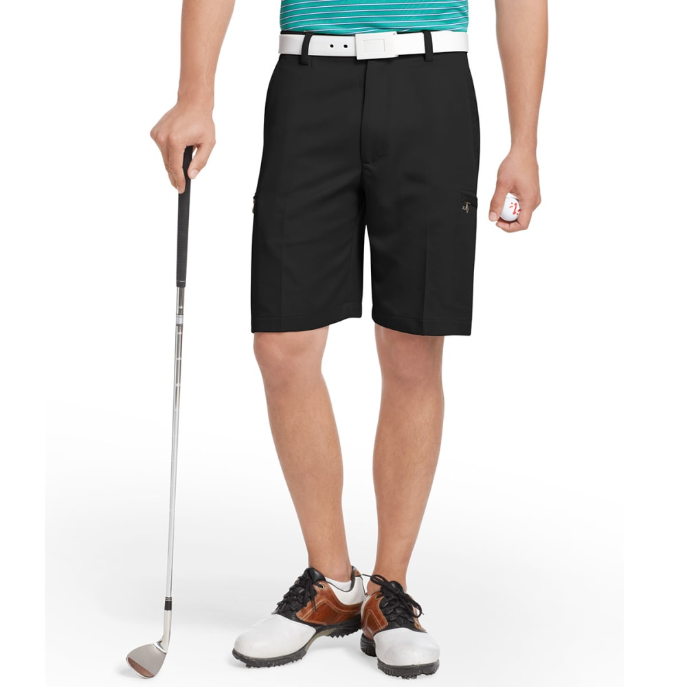 IZOD Men's XFG Flat Front Hidden Zip Cargo Golf Short - BLACK-002