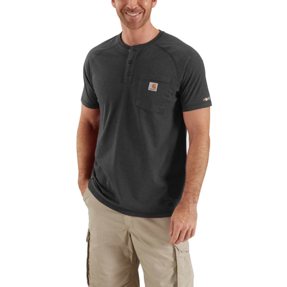 CARHARTT Men's Force Henley - CARBON HEATHER 026