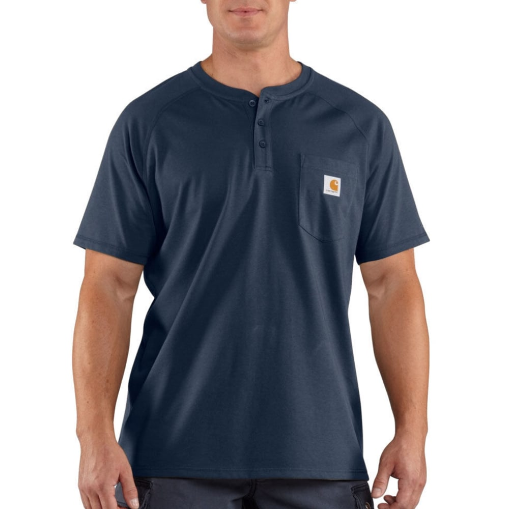 CARHARTT Men's Force Henley - NAVY HEATHER/OXFORD