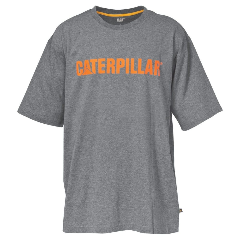 CAT Men's Stand-Out Logo Trademark Tee - HTR GRAY/ORANGE 004
