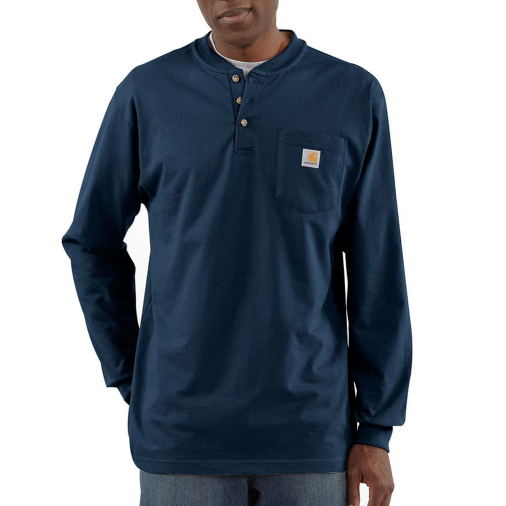 Carhartt Men's Workwear Pocket Henley, L/s - Blue, M