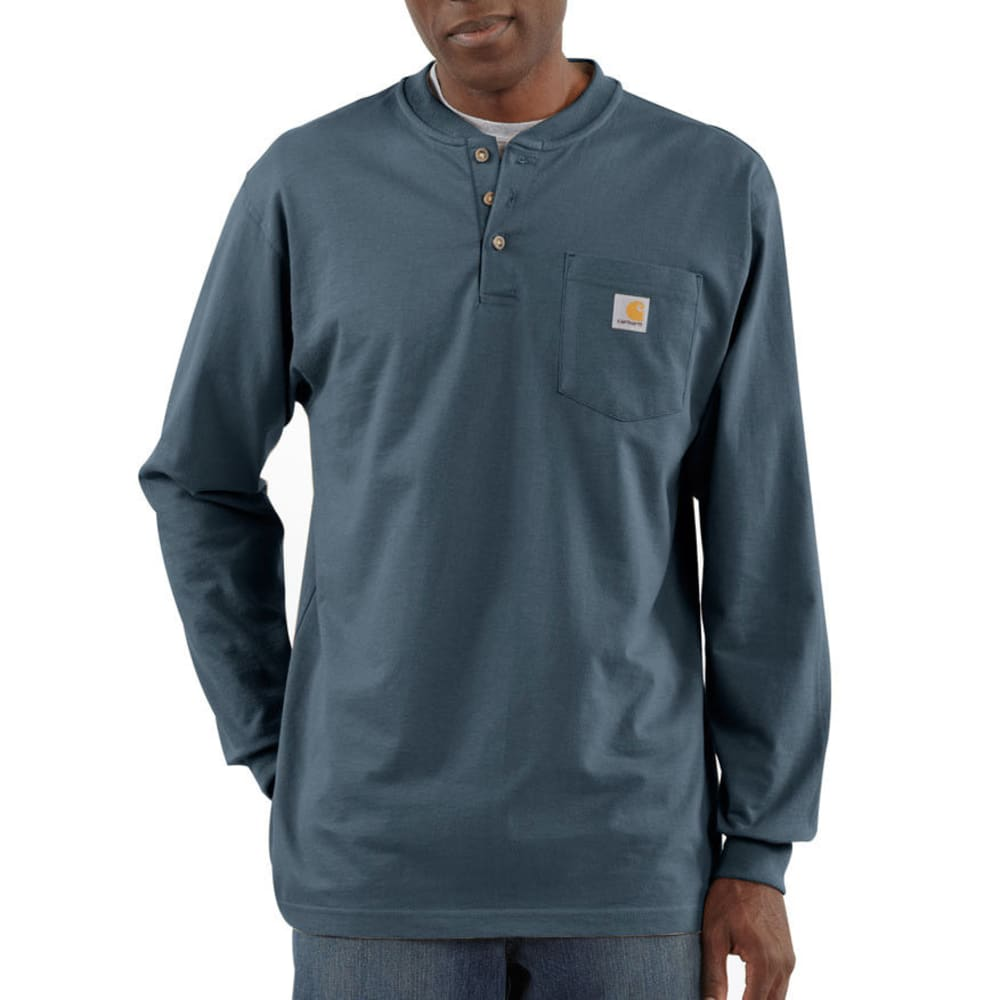 CARHARTT Men's Workwear Pocket Henley, L/S - BLS BLUESTONE