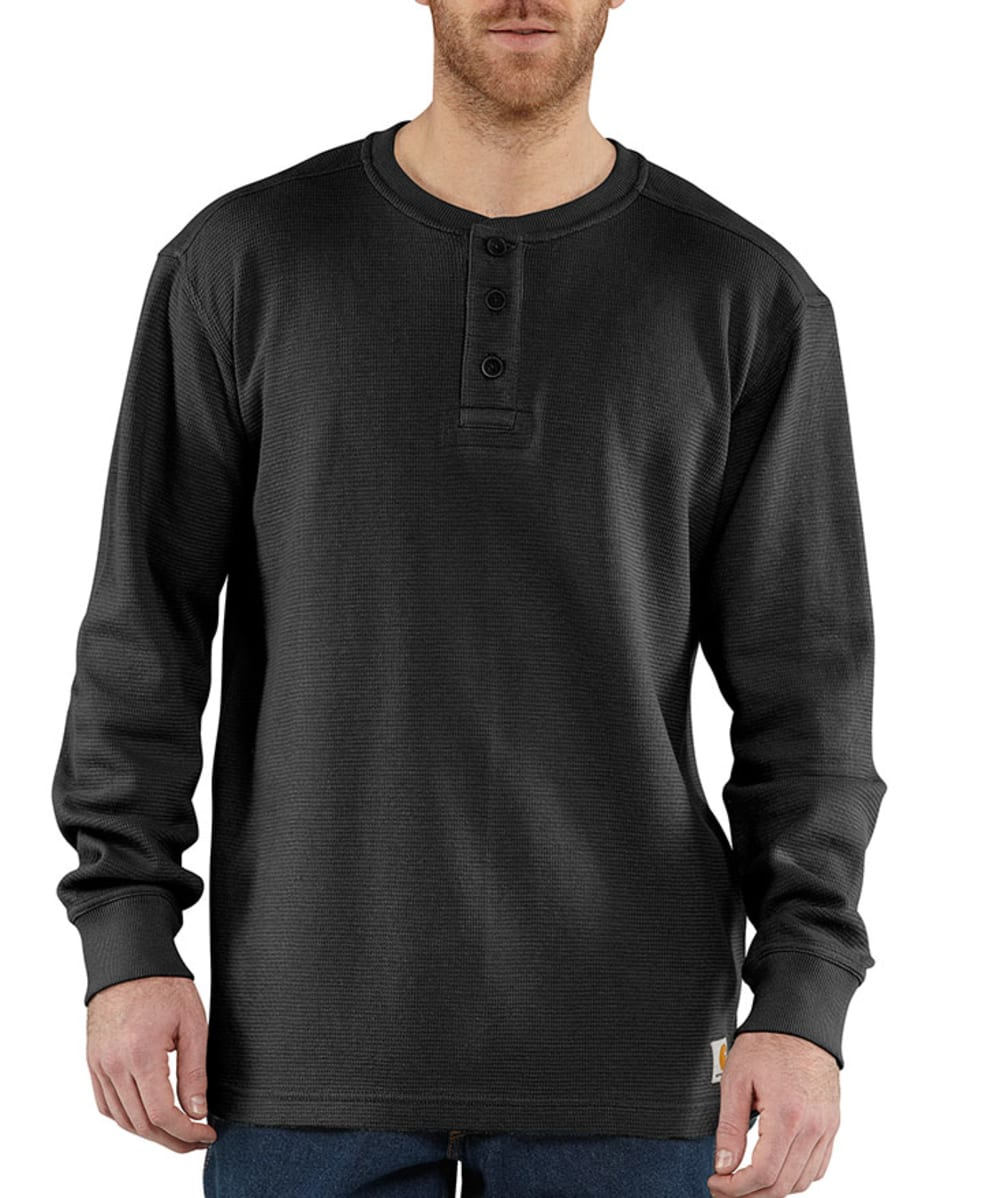 CARHARTT Men's Textured Knit Henley - BLACK
