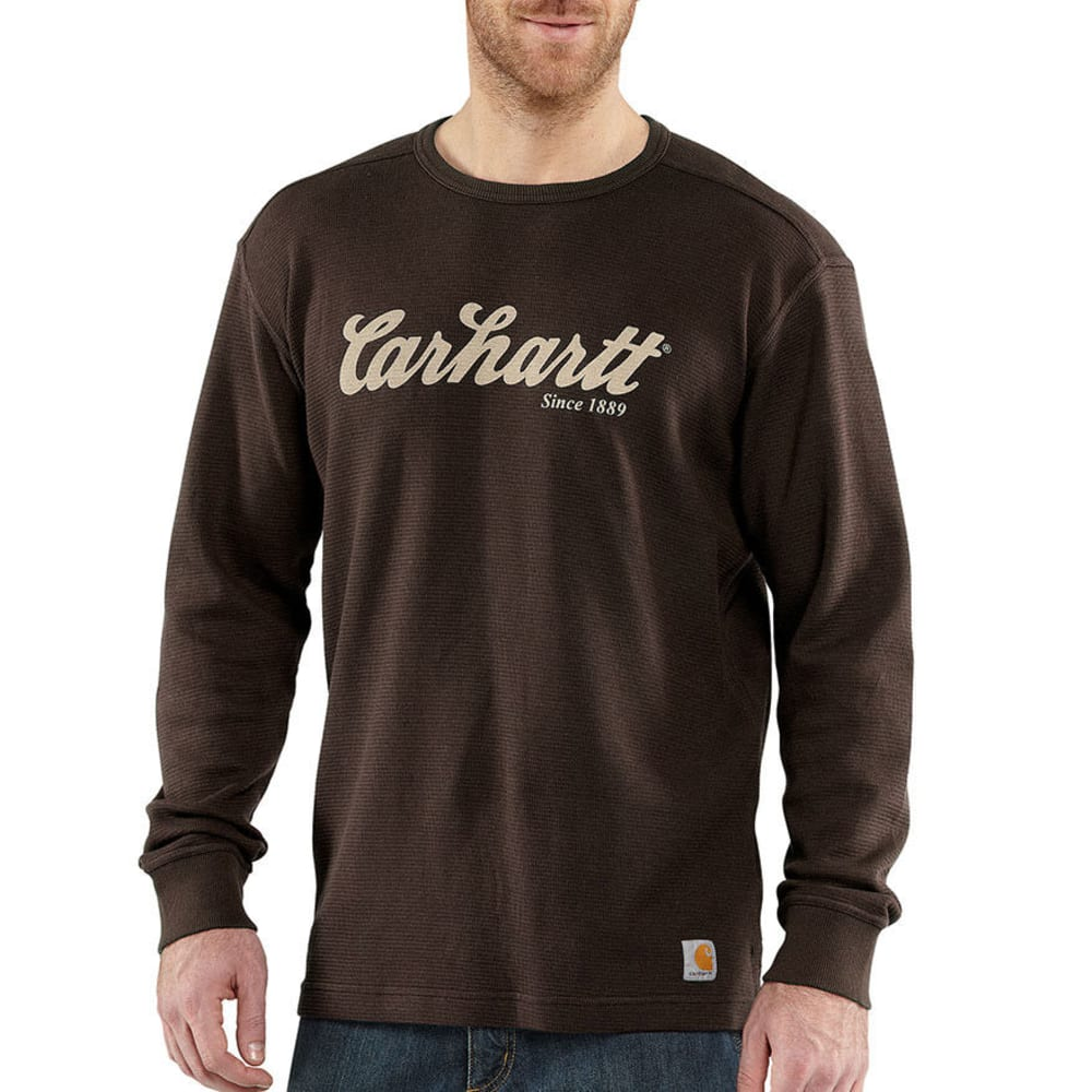 CARHARTT Men's Textured Knit Script Graphic Shirt - BROWN