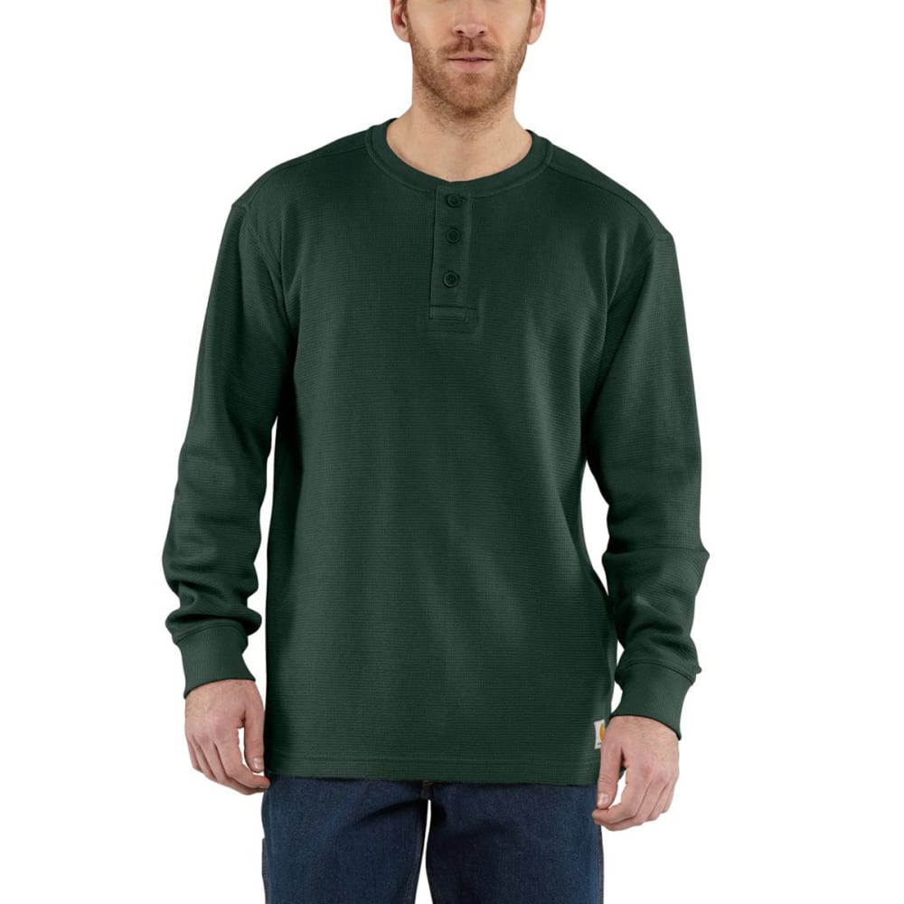 CARHARTT Men's Textured Knit Henley - DK. GREEN