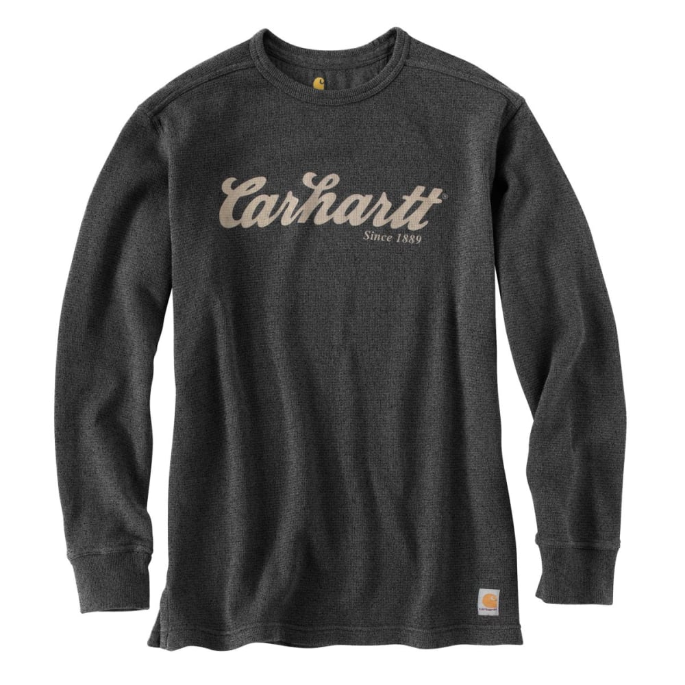 CARHARTT Men's Textured Knit Script Graphic Crewneck Shirt - CARBON HTR