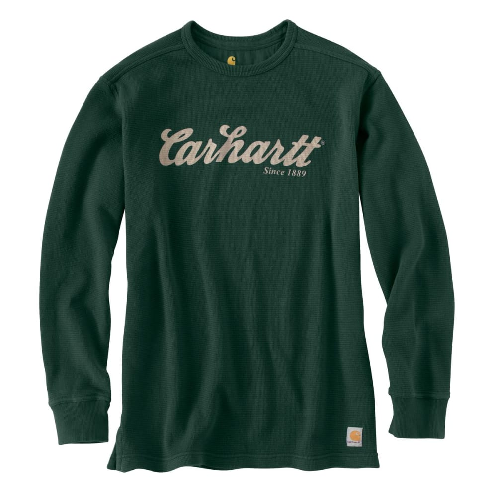 CARHARTT Men's Textured Knit Script Graphic Crewneck - DK. GREEN