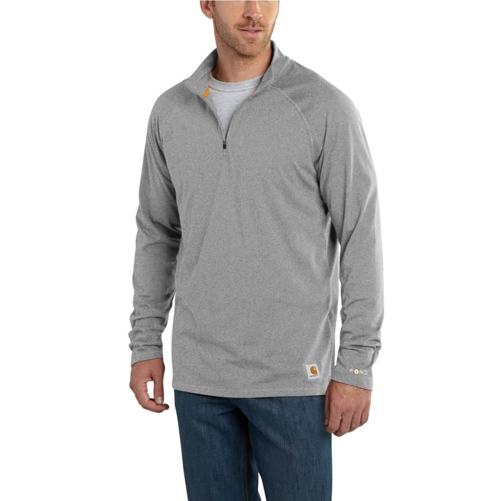 CARHARTT Men's Force Cotton Delmont 1/4-Zip Long-Sleeve Pullover - HTR GREY