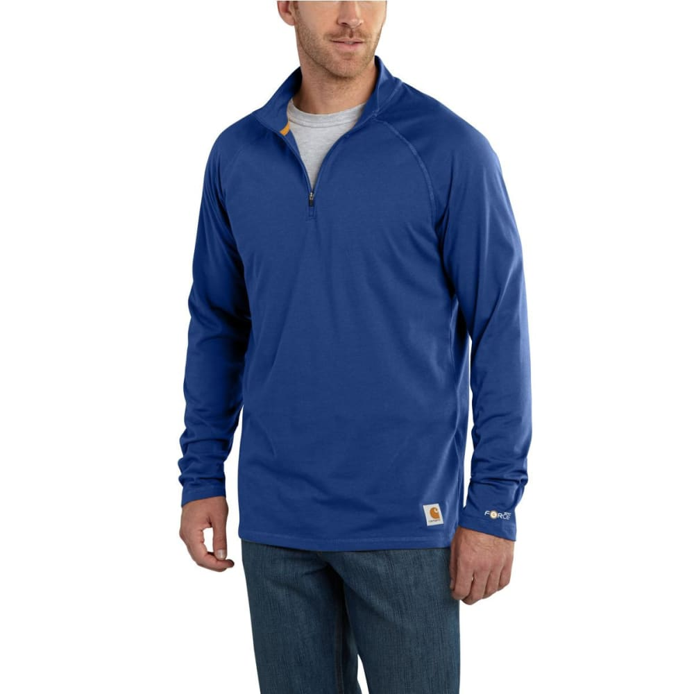 Carhartt Men's Force Cotton Delmont 1/4-Zip Long-Sleeve Pullover - Blue, M