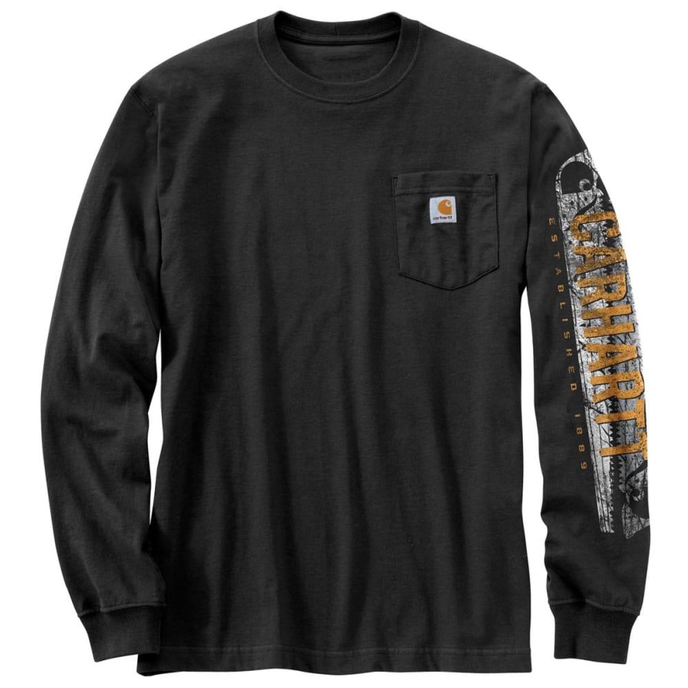 CARHARTT Men's Workwear Graphic Distressed Saw Long-Sleeve T-Shirt - BLACK