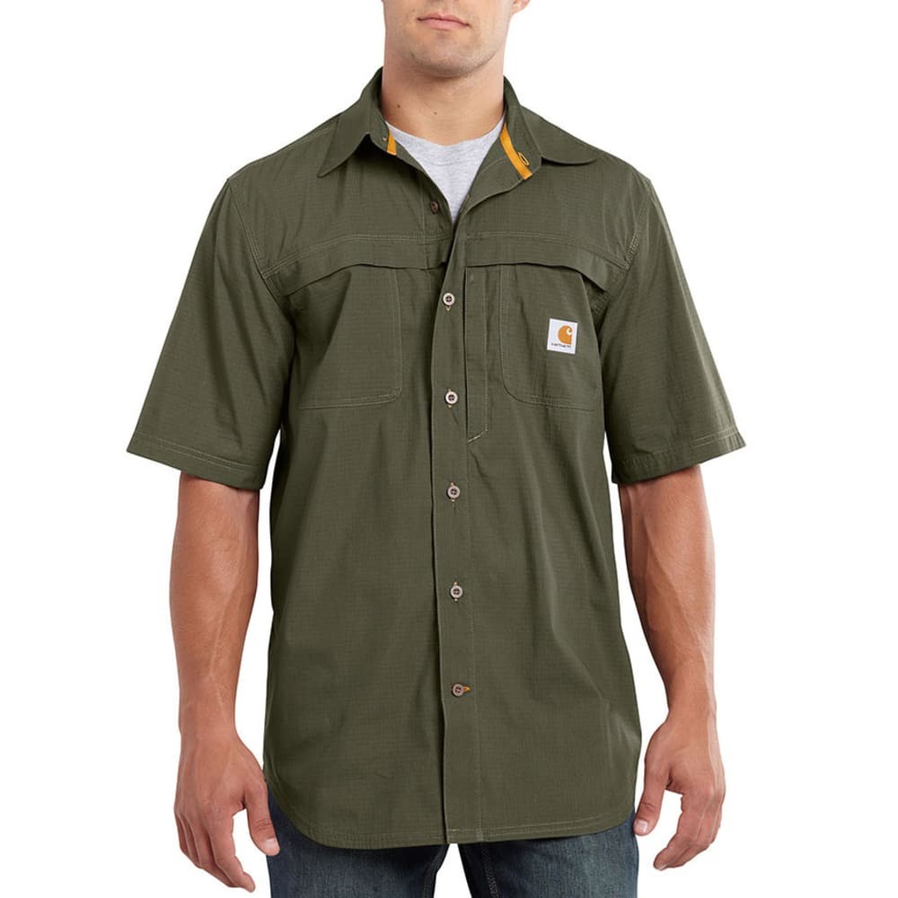 CARHARTT Men's Force Mandan Solid Woven Shirt - MOSS