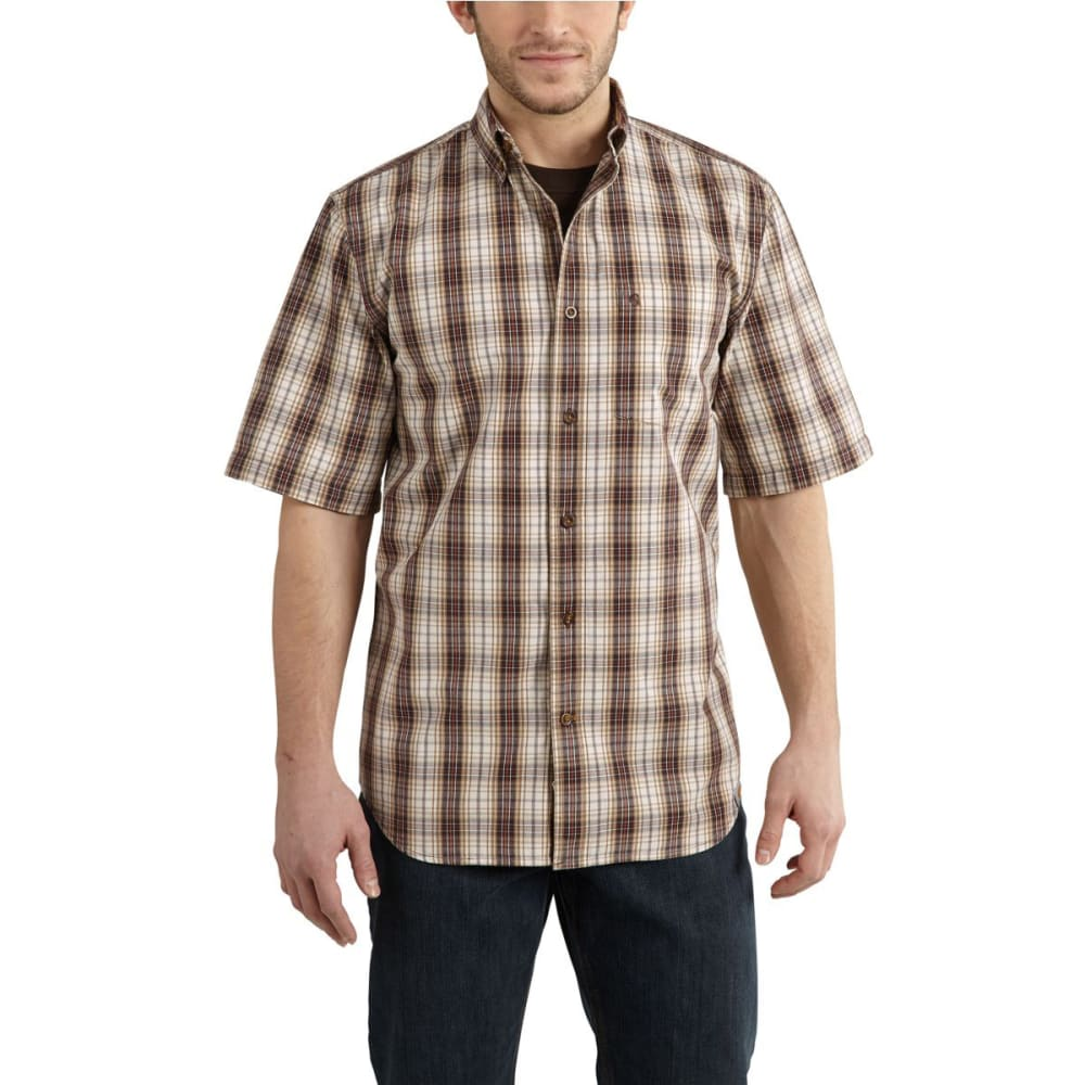 Carhartt Men's Essential Plaid Button-Down Shirt - Brown, M