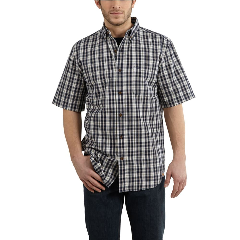 CARHARTT Men's Essential Plaid Button-Down Shirt - NAVY