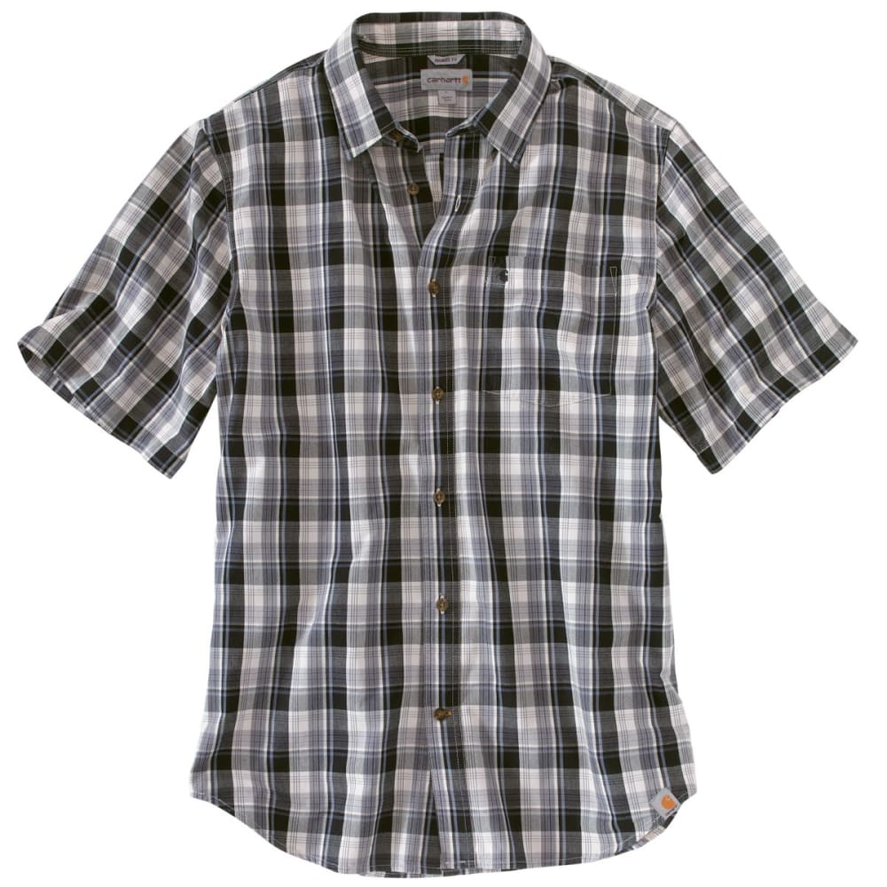 CARHARTT Men's Essential Plaid Open-Collar Short-Sleeve Shirt - SHADOW