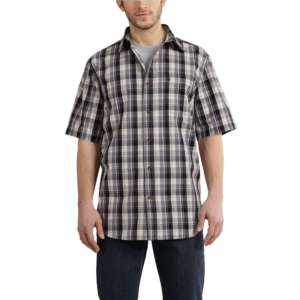 CARHARTT Men's Essential Plaid Open-Collar Short-Sleeve Shirt - SHADOW