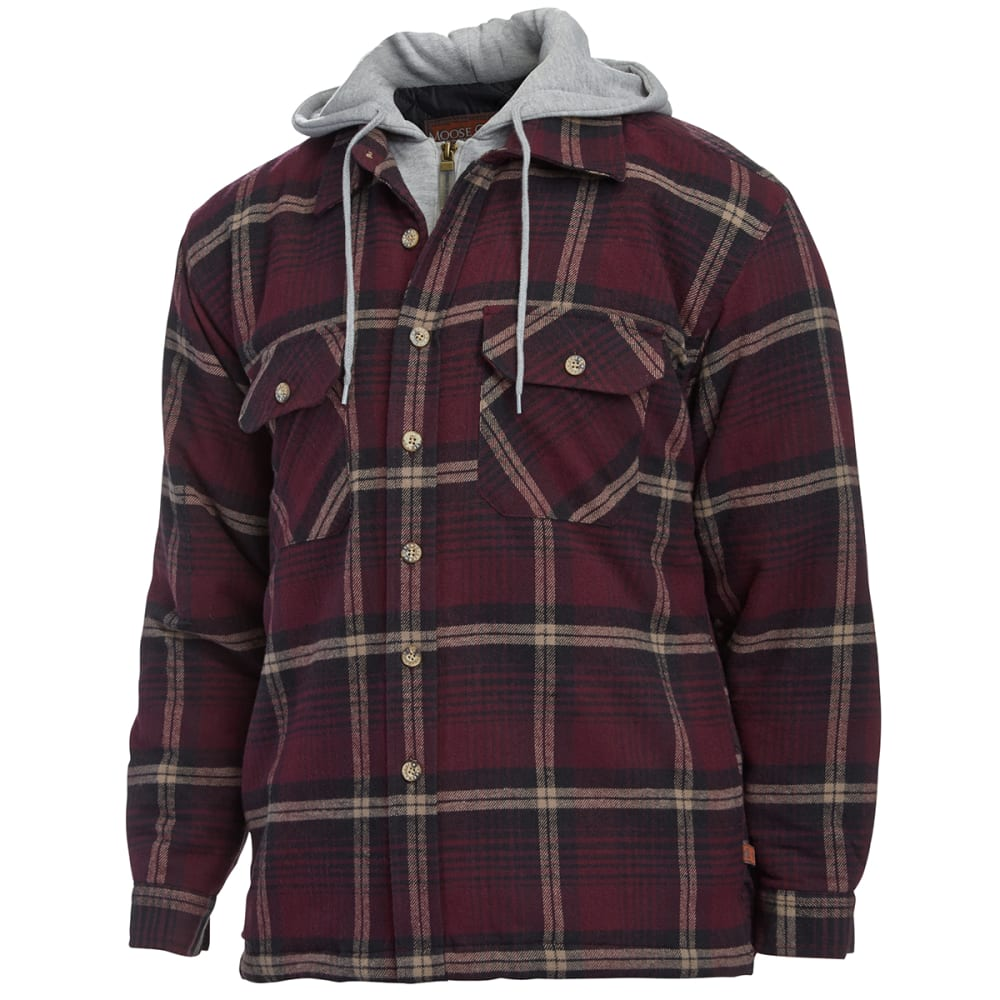 MOOSE CREEK Men's Quilt-Lined Flannel Long Sleeve Shirt - BURGUNDY 2015