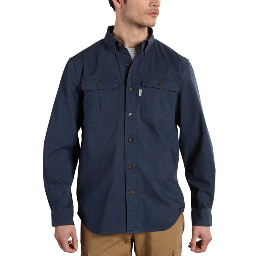 CARHARTT Men's Foreman Solid Long-Sleeve Work Shirt - NAVY