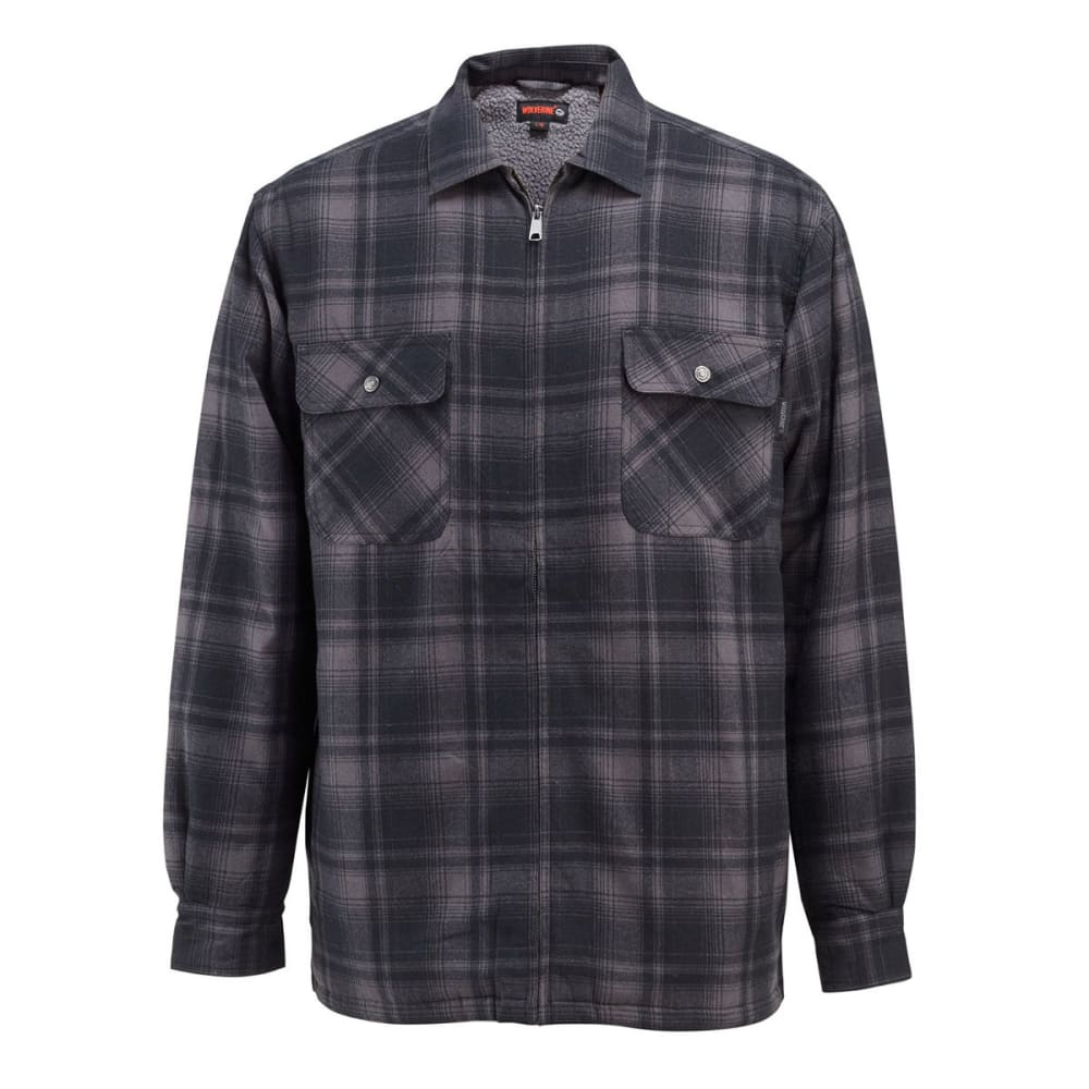 WOLVERINE Men's Marshall Sherpa Lined Shirt Jacket - 045 GRANITE PLAID
