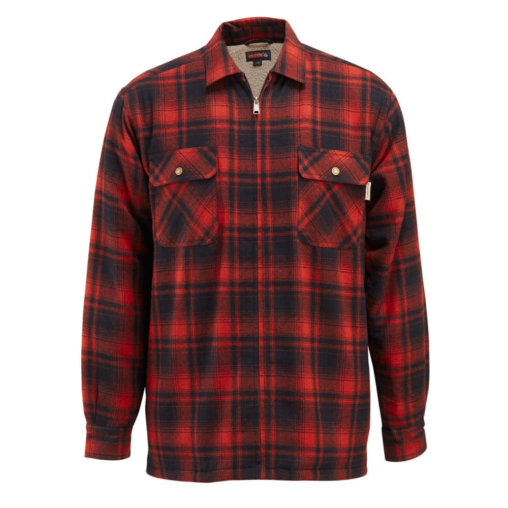 WOLVERINE Men's Marshall Sherpa Lined Shirt Jacket - 620 CINNAMON PLAID