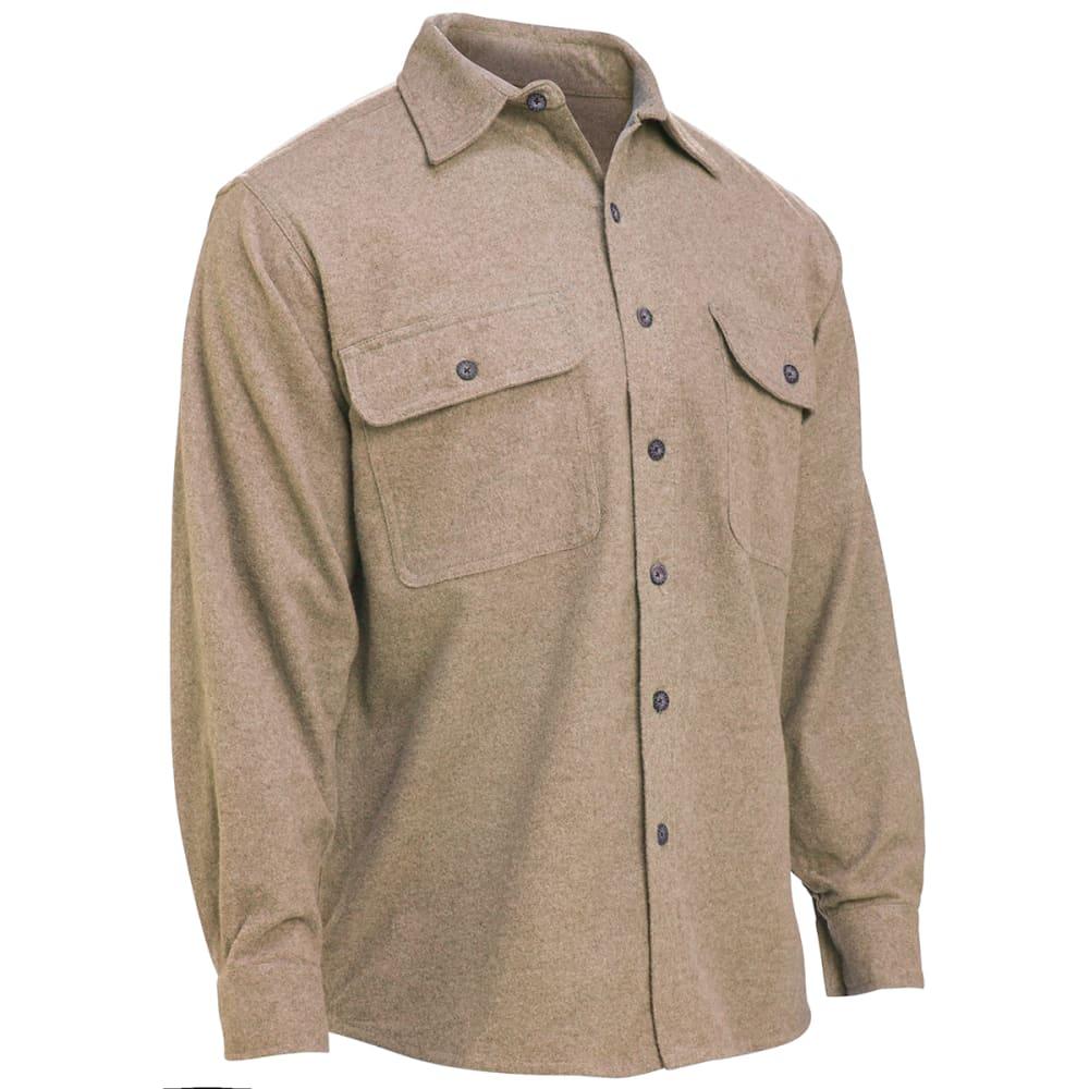 MOOSE CREEK Long Sleeve Chamois Woven Shirt - KHAKI HTR