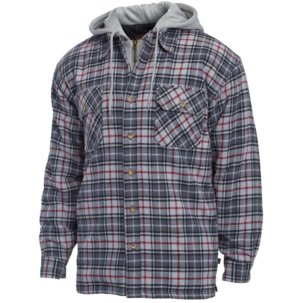 MOOSE CREEK Men's Quilted Lined Hooded Flannel - ALGAE