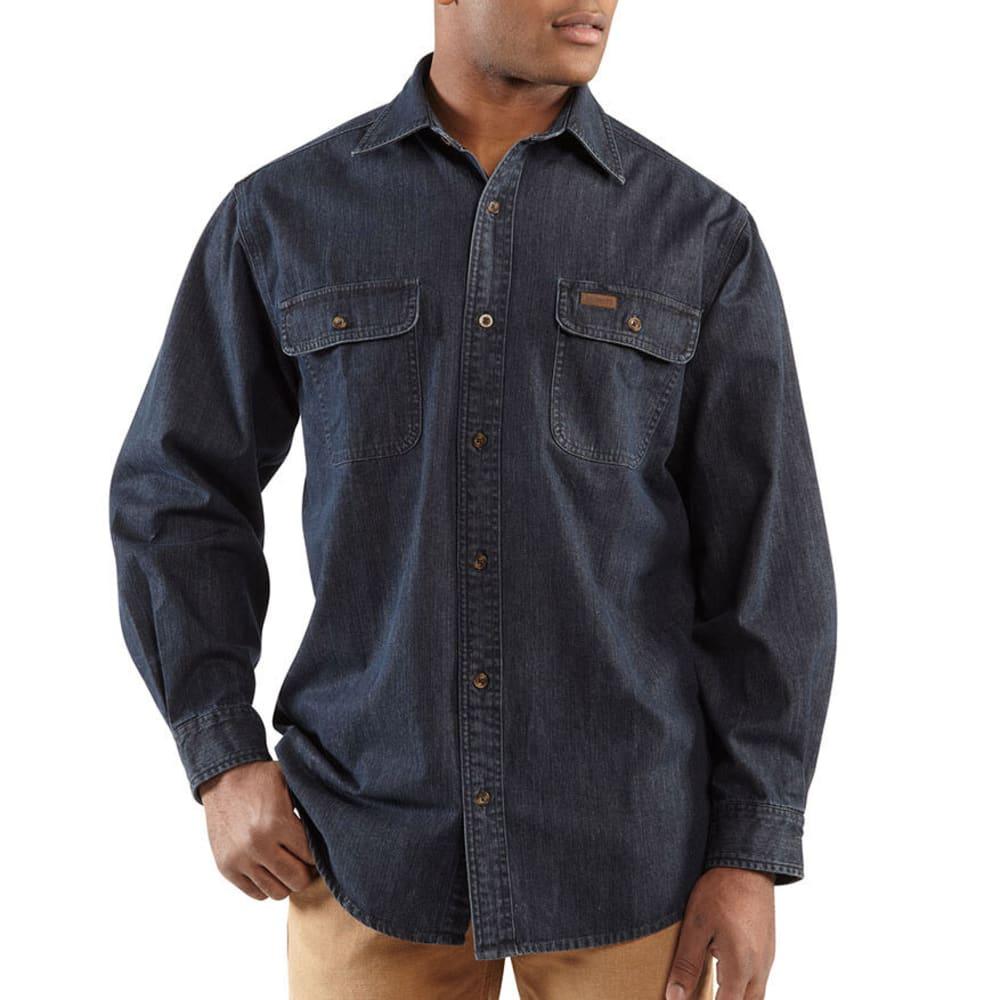 CARHARTT Men's Washed Denim Work Shirt, Extended Sizes - RINSED BLUE