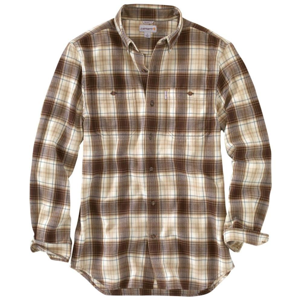 CARHARTT Men's Trumbull Midweight Flannel Shirt - DARK BROWN
