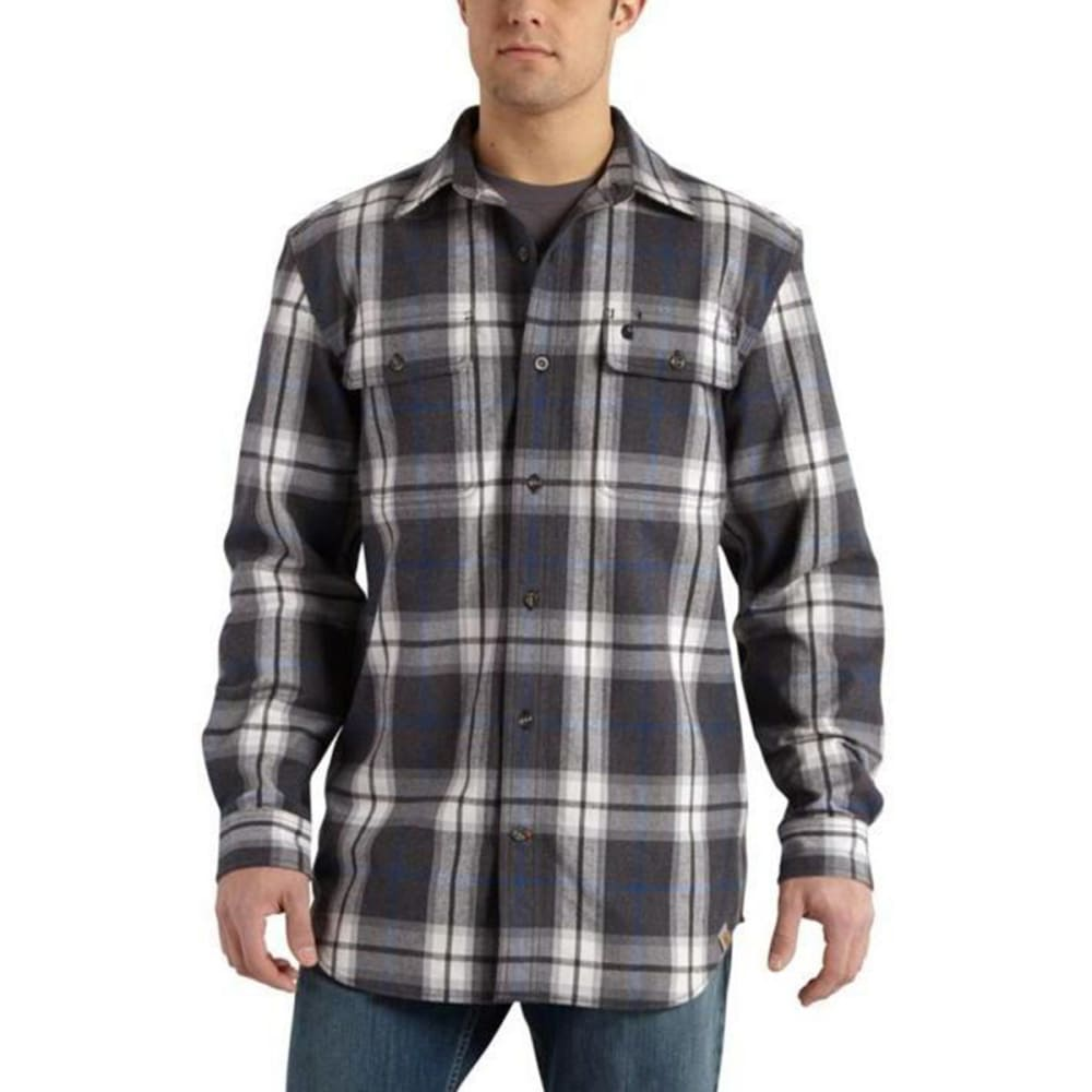 CARHARTT Men's Hubbard Heavyweight Flannel Shirt - BLACK HEATHER