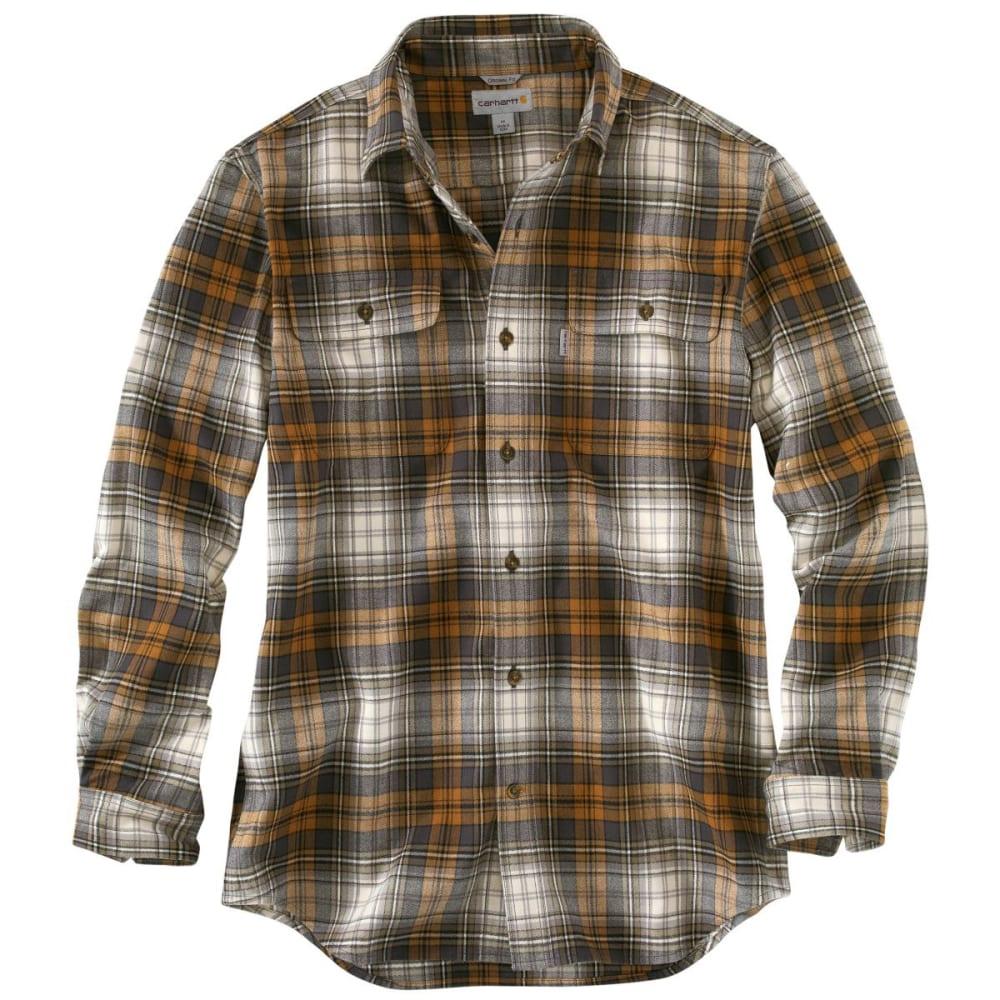 CARHARTT Men's Hubbard Heavyweight Flannel Shirt - CHOCOLATE