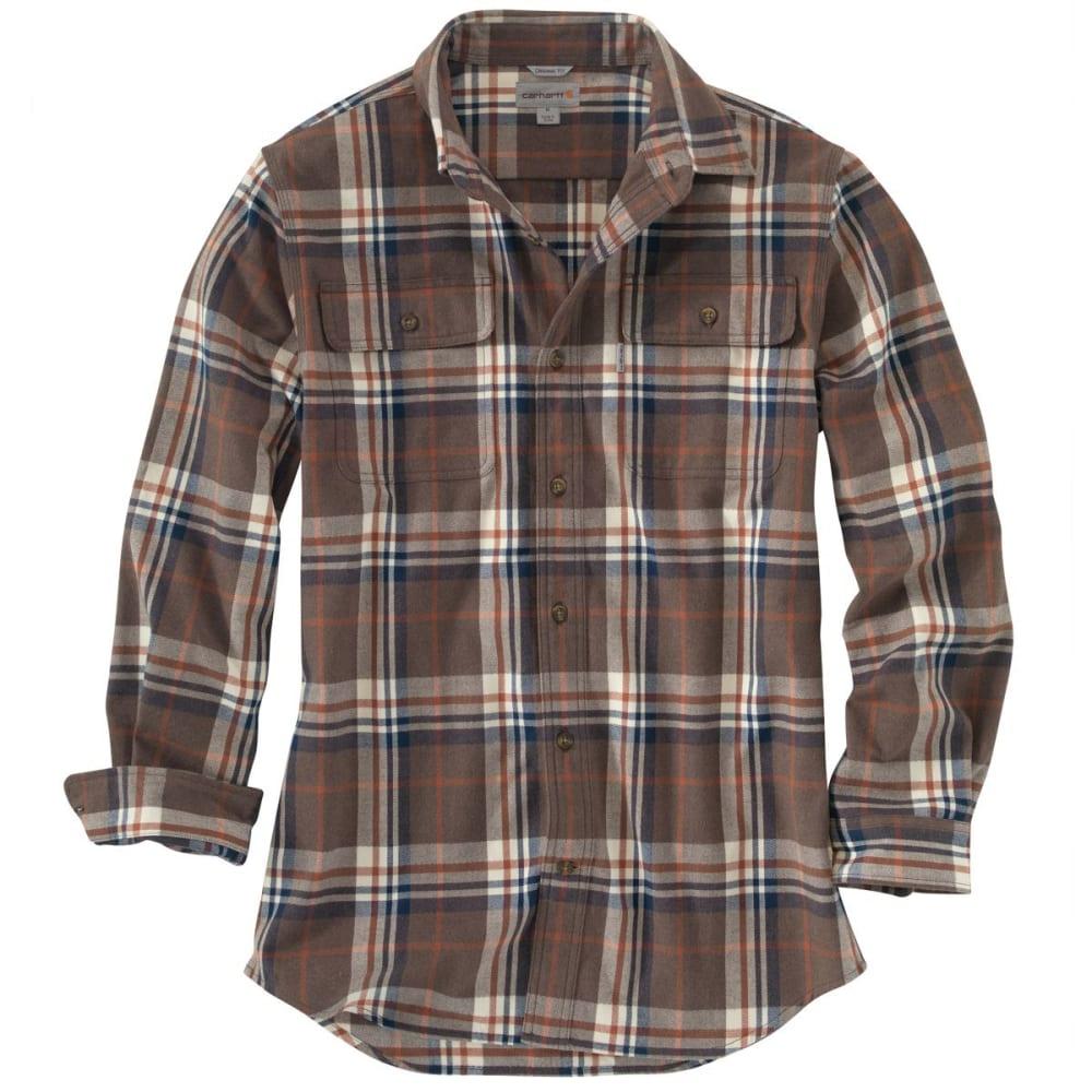 CARHARTT Men's Hubbard Heavyweight Flannel Shirt - BROWN HEATHER