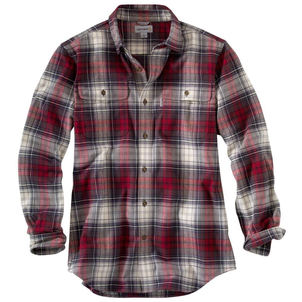 CARHARTT Men's Hubbard Heavyweight Flannel Shirt - DARK CRIMSON