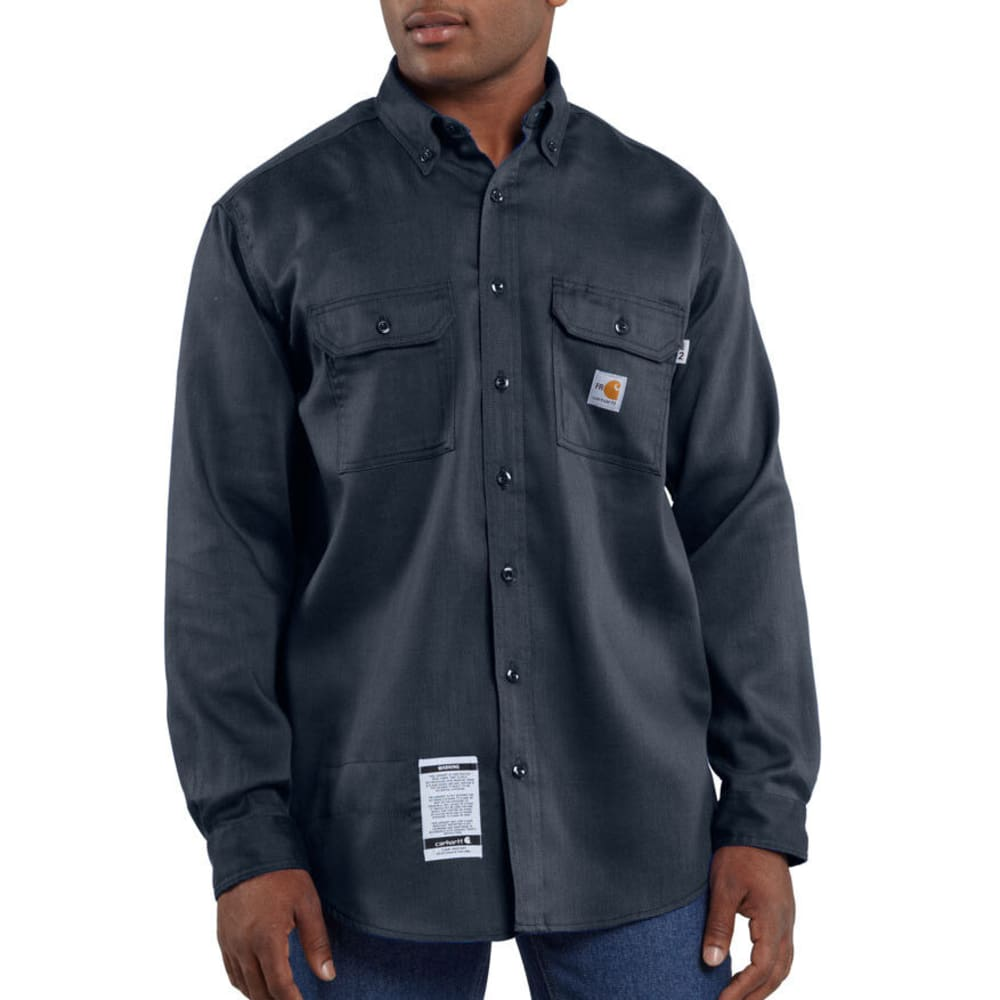 CARHARTT Men's Flame-Resistant Work-Dry Lightweight Twill Shirt - DARK NAVY