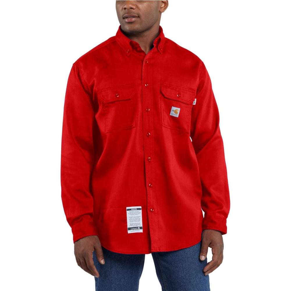CARHARTT Men's Flame-Resistant Work-Dry Lightweight Twill Shirt - H RED