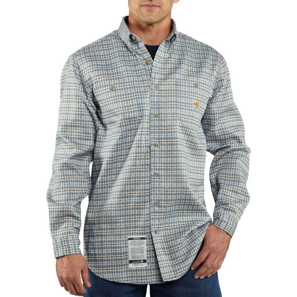 CARHARTT Men's Flame Resistant Work-Dry Plaid Twill Shirt, Extended sizes - MEDIUM BLUE