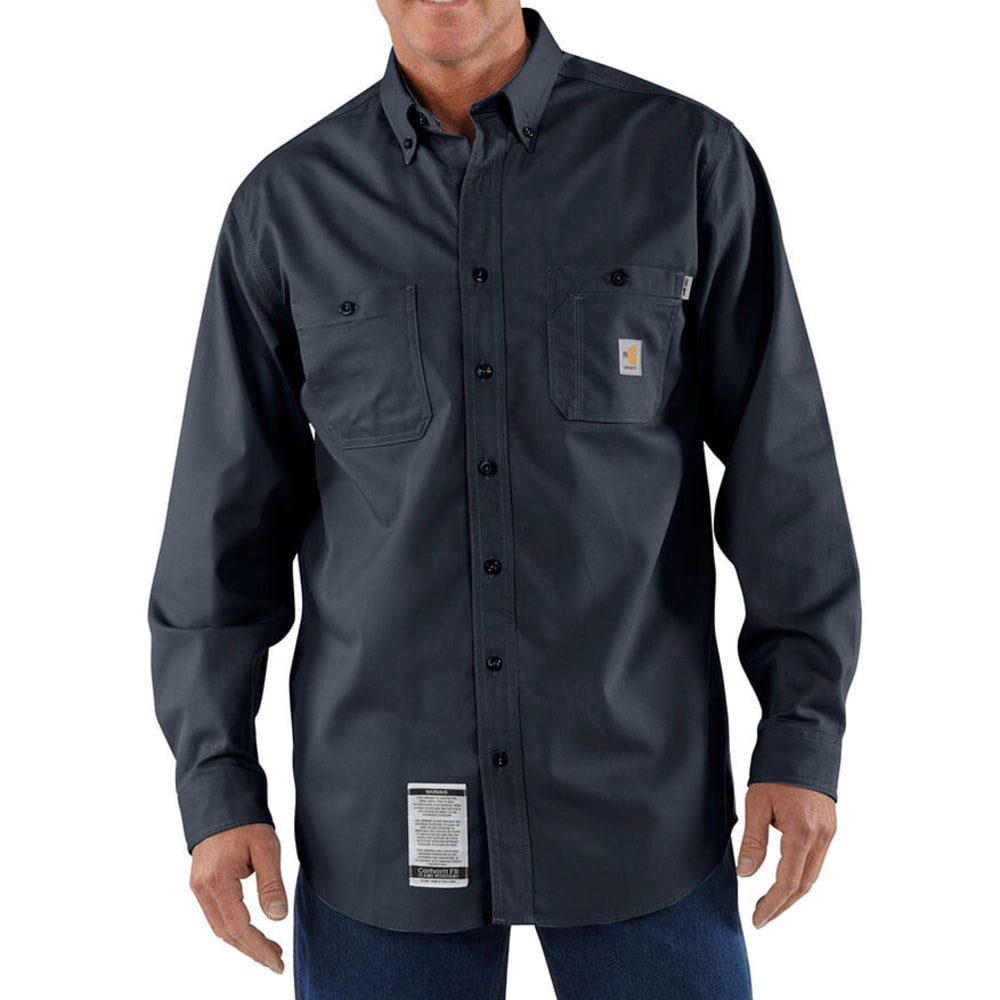 CARHARTT Men's Flame-Resistant Twill Tradesman Shirt, Extended Sizes - DARK NAVY
