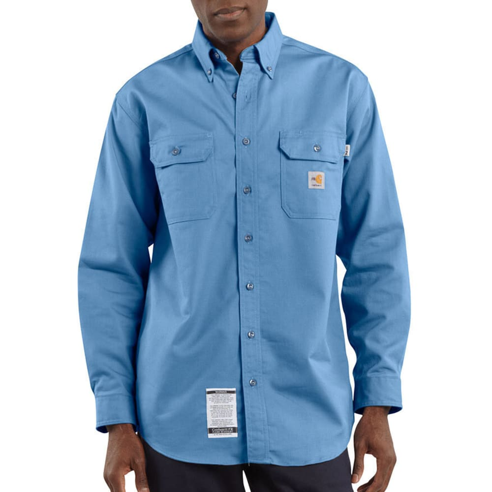 CARHARTT Men's Flame-Resistant Twill Shirt with Pocket Flaps - MINERAL BLUE