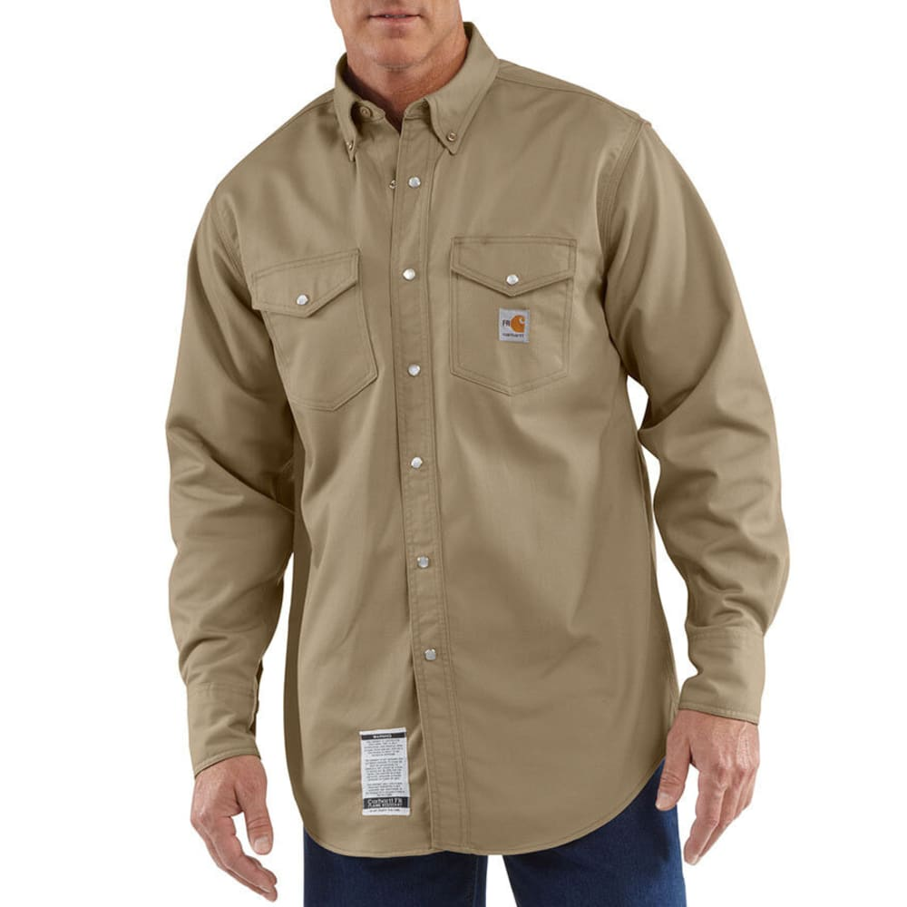 CARHARTT Men's Flame-Resistant Snap-Front Work Shirt, Extended Sizes - KHAKI