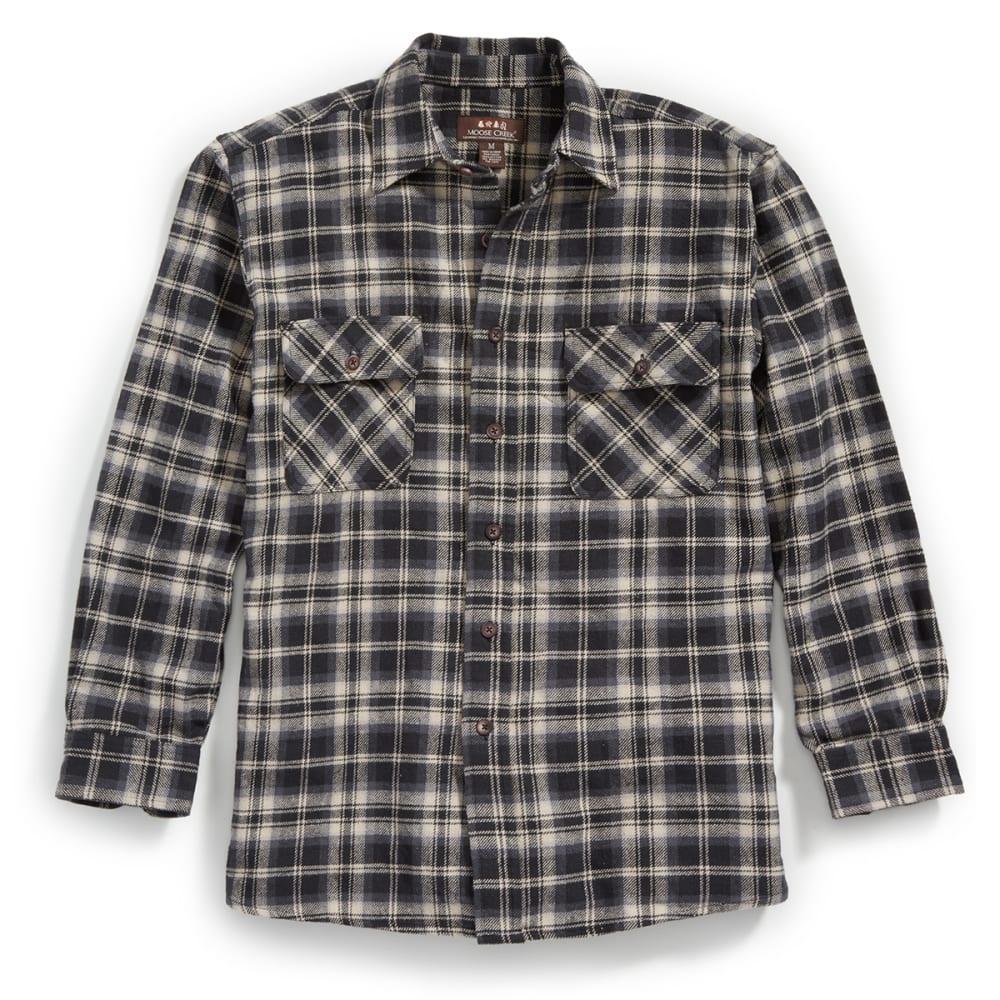 MOOSE CREEK Men's Long Sleeve Brawny Flannel Shirt - BLACK/GREY