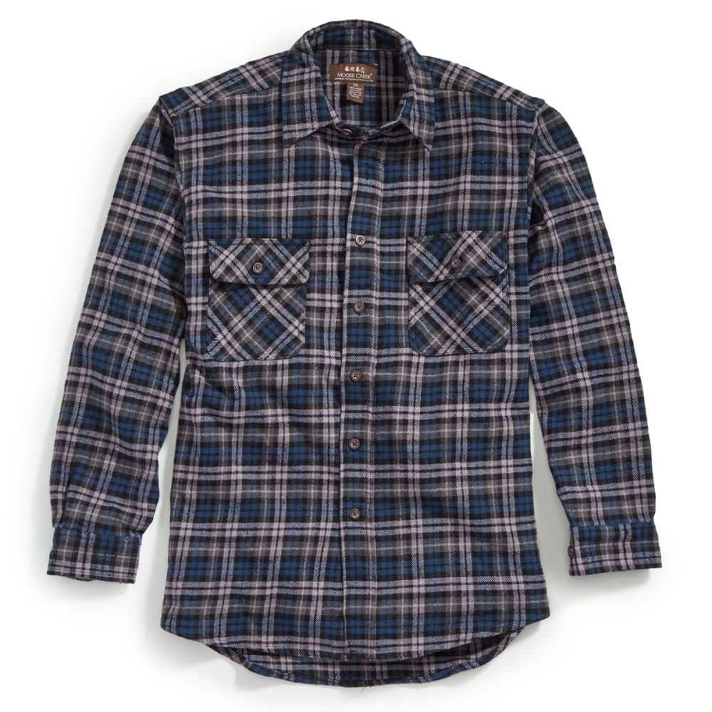 MOOSE CREEK Men's Long Sleeve Brawny Flannel Shirt - MIDNIGHT