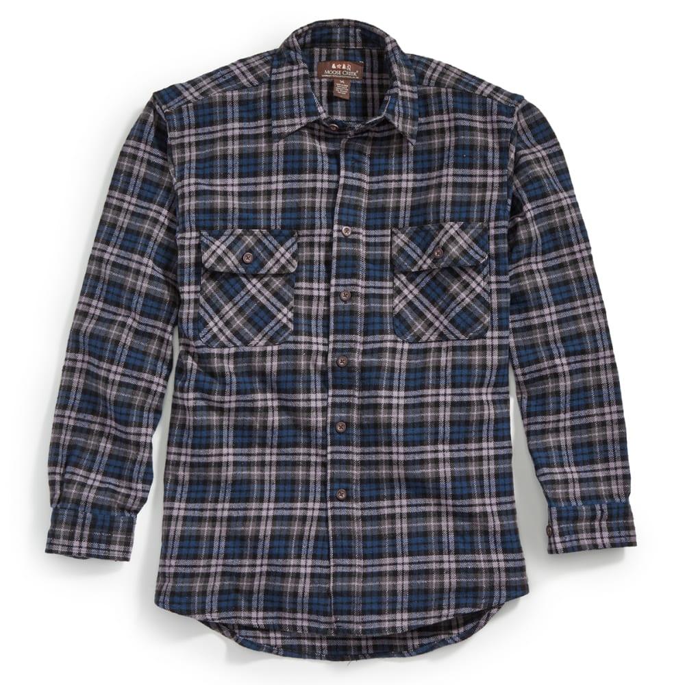 MOOSE CREEK Men's Long Sleeve Brawny Flannel Shirt - MIDNIGHT