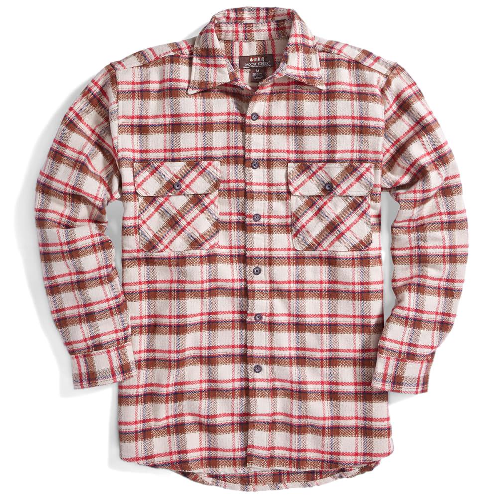 MOOSE CREEK Men's Long Sleeve Brawny Flannel Shirt - RED WOOD