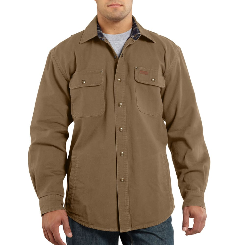 CARHARTT Men's Weathered Canvas Shirt Jac - 930 FRONTIER BROWN