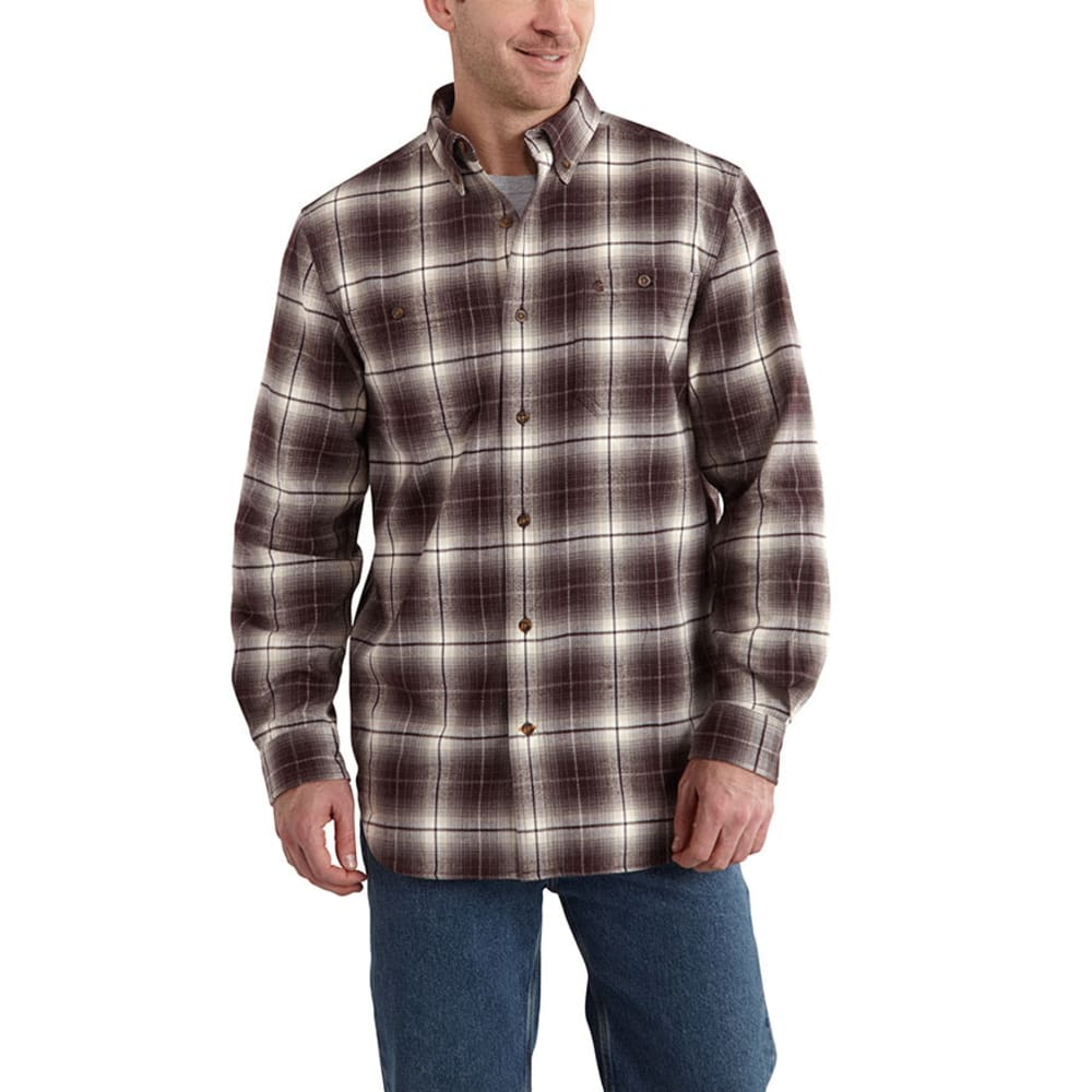CARHARTT Men's Trumbull Plaid Shirt - DARK BROWN